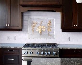 "Kitchen Backsplash ""Herbal Garden"", Marble, 23 Kt Gold Leaf, 20""x 16"""