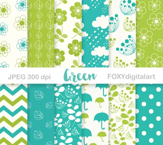 Lime Green Digital Paper Pack Lime Green Turquoise Scrapbook Paper