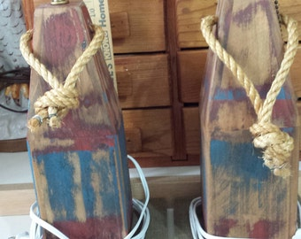Pair vintage style nautical lamps