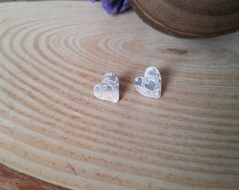 Sterling Silver Etched Heart Stud Earrings