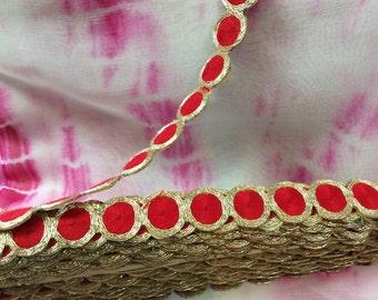 1 inch red & gold Sari Border/ Trim