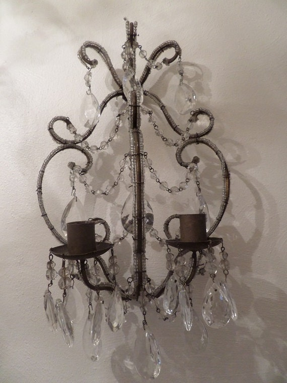 Jeweled Candle Wall Sconces : Antique Italian Macaroni Beaded Wall Candle Wall Sconce