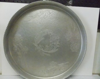 """Vintage Decorated Aluminum Large Serving Tray 18 1/2 """""""