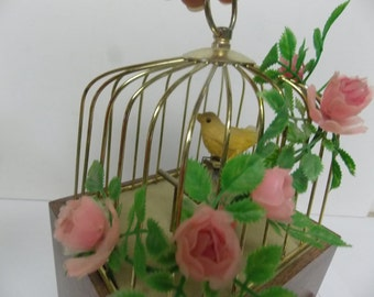 Mid Century Bird Cage Music Box Storage Chest with Movement Feathered Yellow Bird Japan