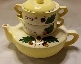 Vintage stacking tea pot