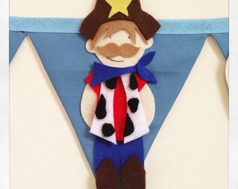 Cowboys and indians bunting decoration