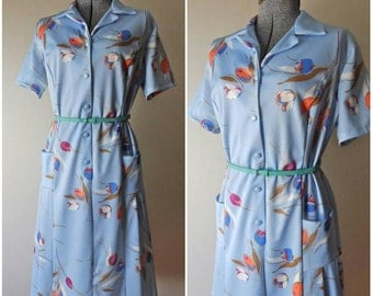 60s Baby Blue Floral Dress - Size Large
