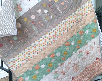 Baby girl quilt, littlest bunnies, mint-coral-gray-peach, crib bedding, nursery bedding, baby bedding
