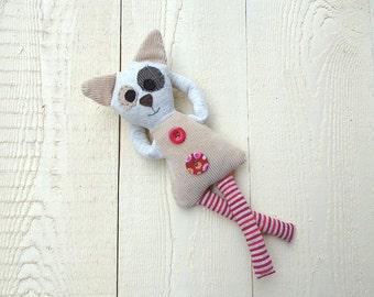 cat plush OOAK ecofriendly red