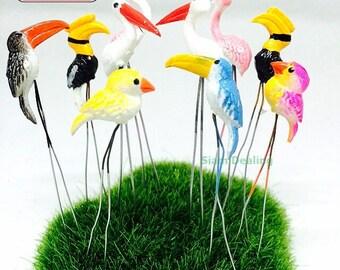 Miniature Dollhouse FAIRY GARDEN Accessories 10 Tiny  mix color Bird Picks.