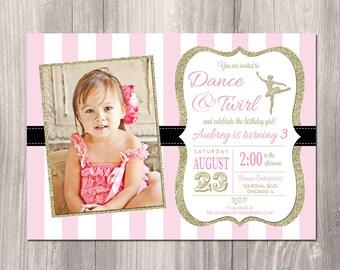 Ballerina Invitation, Ballerina birthday invitation, dance party invitation, pink and gold, tutu invitation, ballerina party, printable