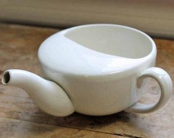 Antique french white pitcher / Small pithcer by Digoin /Vintage Iron stone / cream ware white pitcher or tea pot