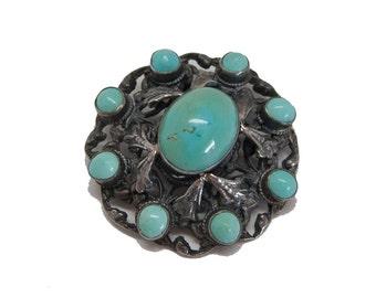 Zuni pen, stering silver, blue turquoise flower