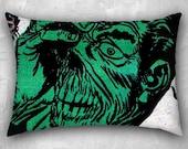 Green Face Horror, Velveteen Pillow, 26x20 inches, Horror Pillow Case, Comic Book Decor