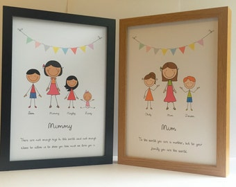 Personalised Stick Figure Mothers Day Picture