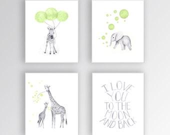 Canvas Nursery Wall Art, Nursery Quote Art, I love you to the Moon and Back, Nursery Animal Prints, Zebra, Elephant and Giraffe