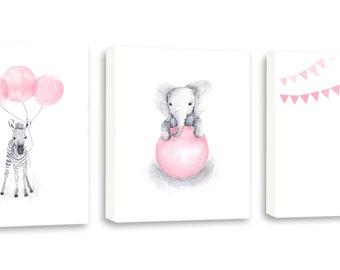 Baby Elephant Art, Nursery Wall Art,Kids Art, Girls Room, Zebra, Giraffe, Limited Edition Set of Three Gallery Wrapped Canvases - SO65WC