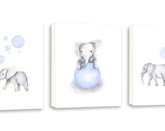 Baby Boy Art, Watercolor Art, Elephant Art, Kids Art, Elephant Nursery, Set Of Three Gallery Wrapped Canvases - SO85WC