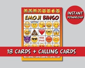 Instand DL - Emoji Bingo 20 cards + calling cards  emoji game emoticon Printable party birthday bingo (NOT editable)