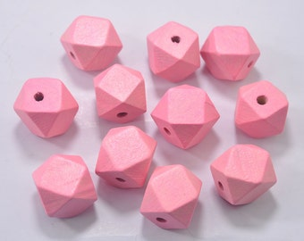 Wooden Bead - 20PCS 20mm Pink Faceted Wood Beads 14 Hedron Geometric Figure Wooden beads.