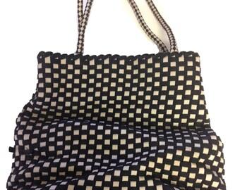 Le Midi Topkapi Black and White Checkered Fabric Shoulder Handbag