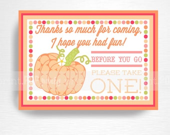 Pumpkin Patch Halloween Birthday Party Favor Sign INSTANT DOWNLOAD Orange Pink Green