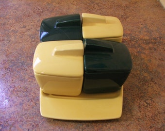 Vintage 1940s Green and Yellow Franciscan Toastmaster Jam/Jelly and Toast Plate set.