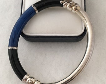 Contemporary Central Blue with Black Accents Lucite 925 Sterling Silver Thailand Made Tubular