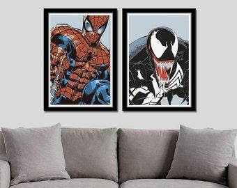 Spiderman and Venom Inspired Art Print Set