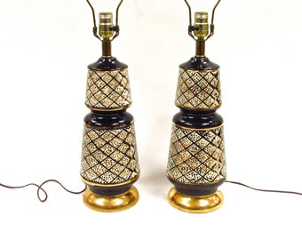 Set of Two Mid Century Lamp Bases- Black and Gold