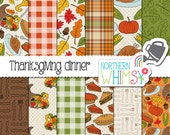 "Fall Digital Paper - ""Thanksgiving Dinner"" - Autumn scrapbook paper with cornucopia, leaves, turkey, pumpkins, corn & pie -commercial use OK"