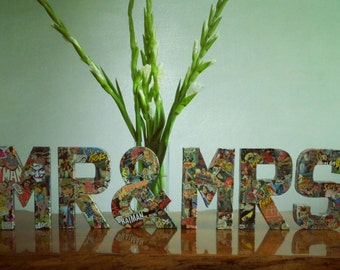A-Z wedding letters, Mr & Mrs (or 2 Mr/2 Mrs) wedding table décor. 20cm maché letters decorated with comic books, superheroes.