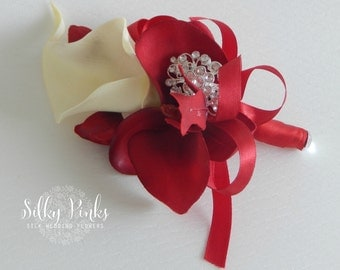 Red & Cream Wedding Corsage, Brooch Corsage, Ladies Wedding Flower, Mother of the Bride Corsage, Prom Corsage