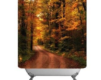 Seasonal Bath Decor-Autumn Shower Curtain-Woodland-Rural Road Shower Curtain-71x74-Auburn-Cinnamon-Yellow-Forest-Trees-Rustic Bathroom Decor