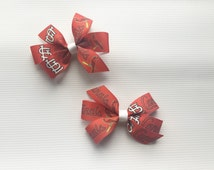 St. Louis Cardinals Hair Bows // Baseball // Cardinals // Pigtail Bows //Set of 2