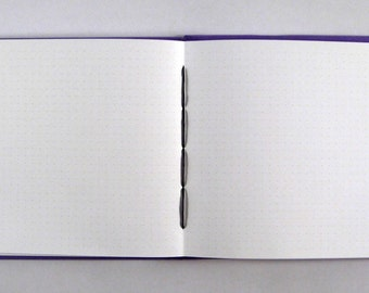 """Grid Paper Journal, Wide/Landscape Orientation: 3/16"""" Spaced Graph Paper Notebook or Drafting Sketchbook. Size Mezzo."""