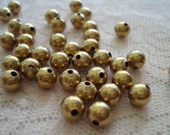 50 Raw Brass Ball Beads. 6mm. Smooth, Seamless, Round, Natural Brass Spacer. Rich, Permanet Golden, Unplated Hollow Rounds. ~USPS Ship Rates