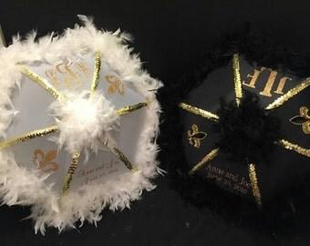 New Orleans Second line Umbrellas, Traditional Wedding Parasols Monogram set