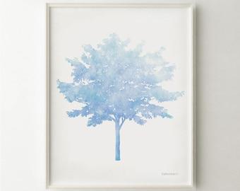Tree wall art DOWNLOAD print, Pastel Blue Nursery wall art, Blue Tree artwork, Blue art for Baby room decor 8x10 print Nursery digital print