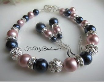 bridesmaid gift, bridesmaid bracelet and earrings, pearl wedding jewelry sets, bridesmaid jewlery, pearl rhinestone, navy blue pink jewelry