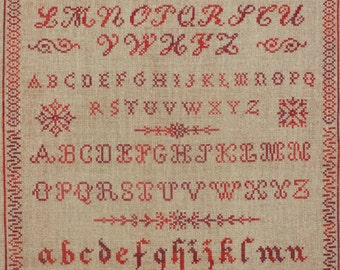 Vintage sampler old letters to embroider in cross stitch