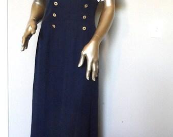 40% OFF Vintage 1970's Sailor Style Dress* Size 10 . Navy Blue & White . K STUDIO . Short Sleeves . Nautical . Summer . Wedding Guest . Clas