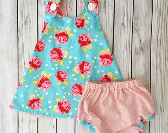 Blue and Pink Rose Dress , Rose Baby Dress , Aqua Baby Dress , Vintage Baby Dress , Floral Baby Dress , Pink Floral Dress , Toddler Dress