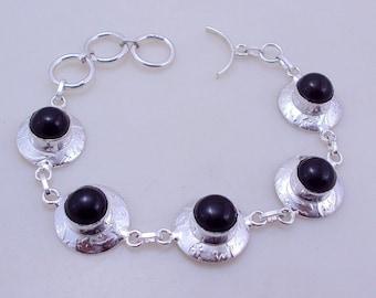 free shipping F-298 Stunning Black Onyx .925 Silver Jewelry Handmade Bracelet 19 Gr.