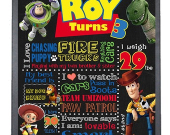 SALE Toy Story Birthday Chalkboard, Boy Birthday Chalkboard Poster, Any Age, DIGITAL FILE
