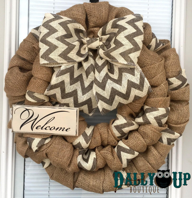 Burlap Home Decor: Burlap Wreath. Door Wreath Home Decor Wreath Natural And