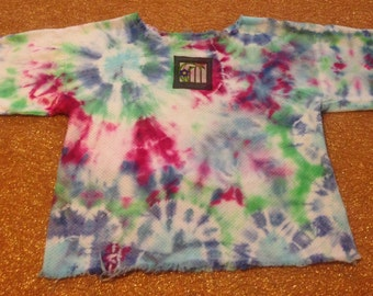 Women's Size Large Tie Dye Up-Cycled Top With Flower, cotton