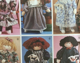 """Vintage 1990 Simplicity 7650 Abbie's Jiffy 6 Pack 22"""" Stuffed Doll and Clothes Sewing Pattern"""