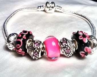 European Style Sterling Silver Pink and Black Murano Beads Barrel Bracelet