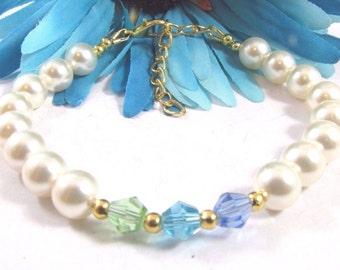 Swarovski Crystals Light Blue, Aqua and Apple Green & Swarovski Creamrose Pearls